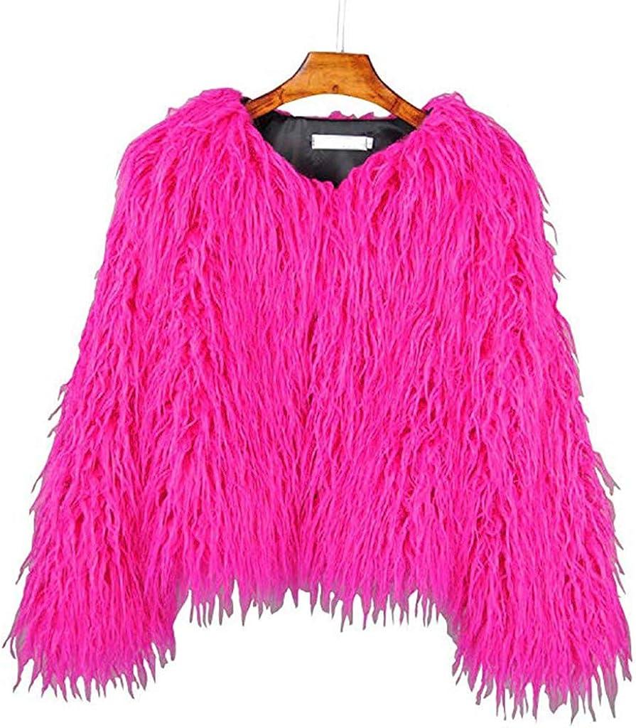 YUAKOU Women's Shaggy Faux Fur Outwear Coat Jacket Long Sleeve Warm Winter