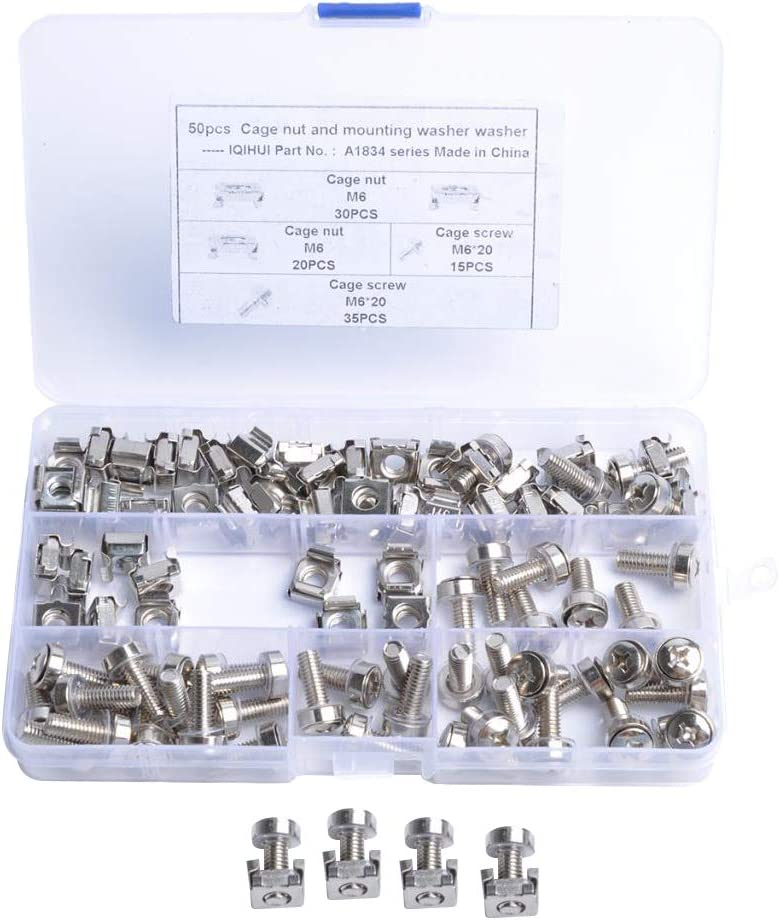 Gazechimp Cage Nuts and Screws, 50Set Square Hole Hardware Cage Nuts & Mounting Screws Washers for Server Rack and Cabinet (M6 x 20mm)