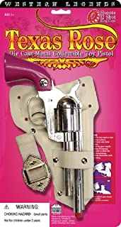 Cowboy Cowgirl Metal Replica Revolver Pistol Texas Rose Pink Toy Cap Gun Holster