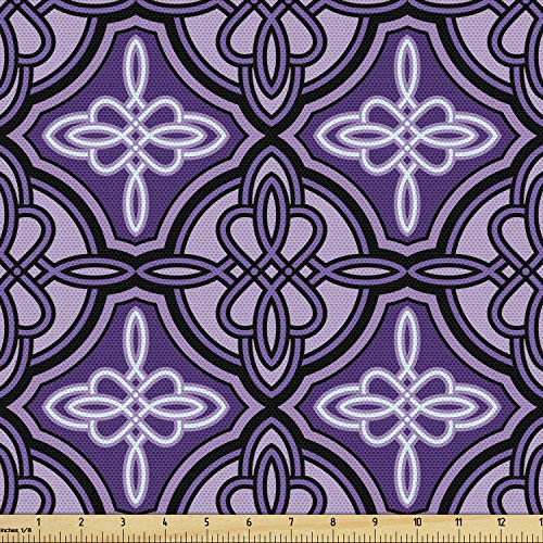 Ambesonne Celtic Fabric by The Yard, Unique Celtic Knot with Swirling and Twisted Line Details Print, Decorative Fabric for Upholstery and Home Accents, 2 Yards, Violet Lilac