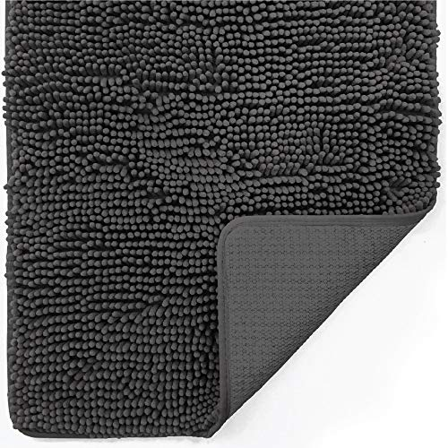 Gorilla Grip Original Indoor Durable Chenille Doormat, 30x20, Absorbent, Machine Washable Inside Mats, Low-Profile Rug Doormats for Entry, Mud Room, Back Door, High Traffic Areas, Charcoal