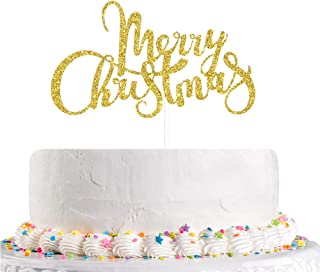 Talorine Gold Glitter Merry Christmas Cake Topper, Be Merry, Christmas Party Decorations