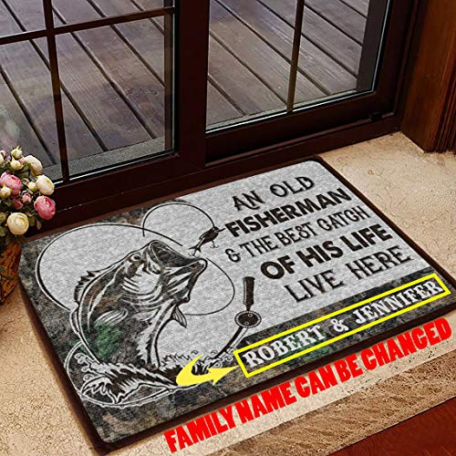 Personalized Fishing Couple Doormat an Old Fisherman and The Best Catch of His Life Live Here, Gift for Fisherman, Welcome Doormat Custom Size and Couple Name