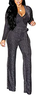LightlyKiss Women Casual Sexy V Neck Sparkly Jumpsuits Long Sleeve Onesie Loose Pants Party Clubwear with Belt