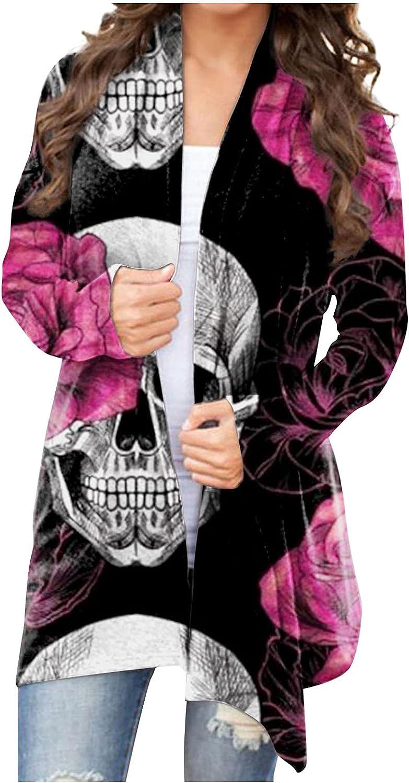 SERYU Women's Skull print Cardigan Halloween Lightweight Knit Sweater Long Sleeve Soft Open Front Coat