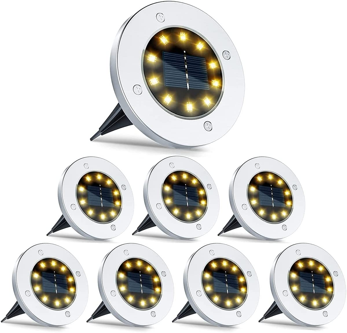Max 56% OFF ZHM Solar Ground Lights Outdoor Waterproof 8 LED 2021 new 16 Pathway Lig
