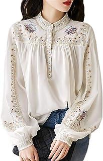 [ニーマンバイ] フラワー 刺繍 ブラウス バンドカラー ふんわり 袖 シャツ 花柄 エンブロイダリー レディース S~2XL