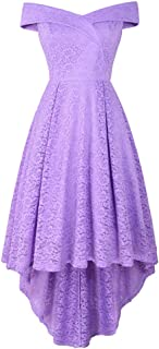 Dress for Women, Botrong Ball Party V-neck Off-Shoulder Slim Cocktail Party High and Low Lace Dress XX-Large Purple