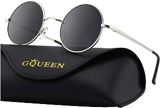9bb3b9b30a GQUEEN Lunettes de soleil polarisées classiques Ronde Rétro Vintage Métal  Cadre Lennon pour Homme et Femme