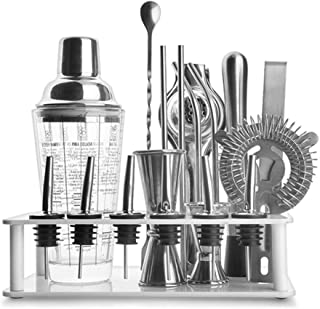 Bartending Making Kit,Bartender 19-Piece Bar Set Shaker Perfect Home Tool with Mixing Experience Outdoor Parties DIY