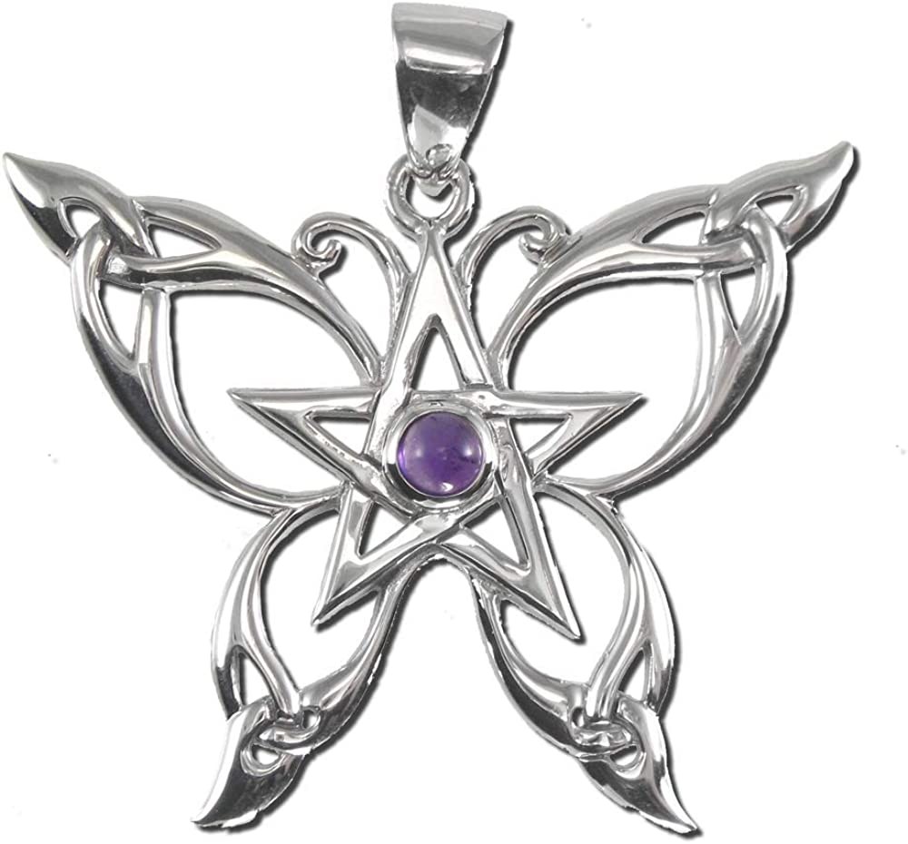 Sterling Silver Butterfly Beauty products Pentacle Pendant Safety and trust Amethyst Natural with