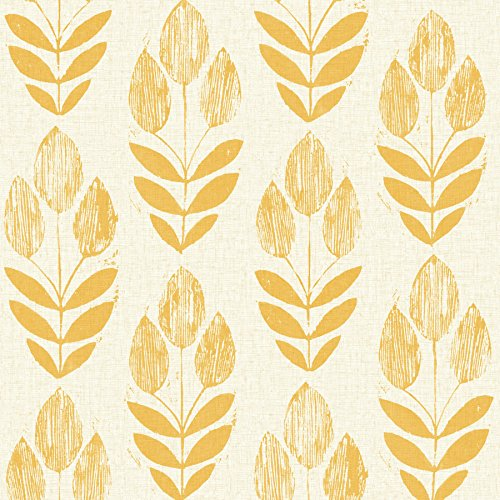 Beacon House 2535-20654 Scandinavian Block Print Tulip Wallpaper, Yellow