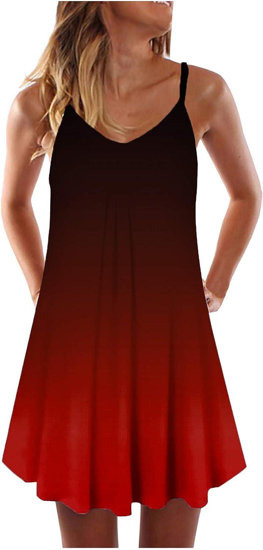 AorizizrH Womens Casual service 2021 new Gradient Sleeveless Print Tie-Dye Dress