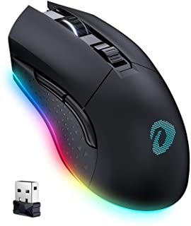 DAREU Wireless Wired Gaming Mouse with 7 Programmable Buttons, Rechargeable RGB Gaming Mice [10000DPI] [150IPS] [1000Hz Po...