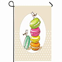 Ahawoso Outdoor Garden Flag 28x40 Inches Colorful Cake Confection Birds French Dessert Macarons Vintage Food Cute Drink Party Recipe Advertise Seasonal Home Decor Welcome House Yard Banner Sign Flags
