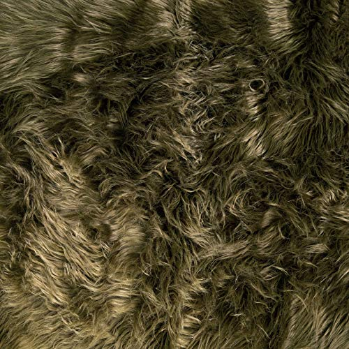FabricLA Zotteliger Kunstfell-Stoff, 152,4 x 45,7 cm, für Bastelarbeiten, Hobby, Kostüme, Dekoration, Olivgrün