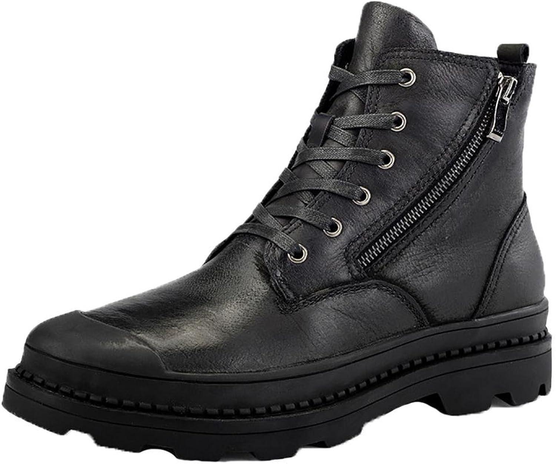 NANXZ Men 's Autumn And Winter Leather High Top Zipper Manual Martin Boots Outdoor Leisure