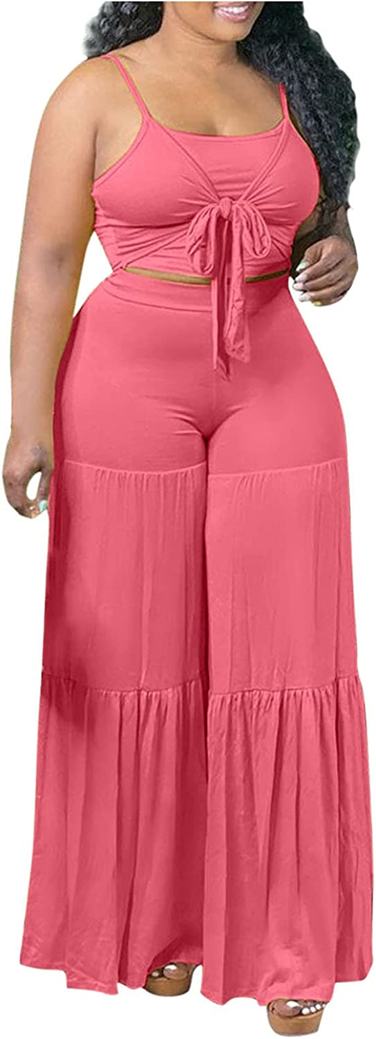 iQKA Women Two Piece Outfits Loungewear Clubwear Sexy Spaghetti Strap Tank Top and Wide Leg Pants Sets Elegant Clothing Suit