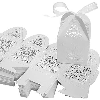 Caja de regalo, SenPuSi 50 Caja de regalo, dulces de boda, dulces, chocolate, confeti, decoración para bodas,bodas, banquetes, bodas (Blanco): Amazon.es: Hogar