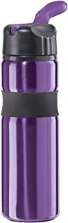 Oggi 8079.8 Lustre Contour Stainless Steel Sport Bottle with Flip Up Drinking Spout and Straw, 25-Ounce, Purple