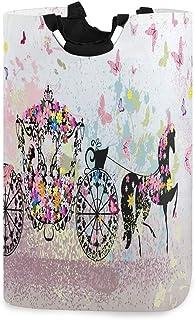 N\A Papillon Rose Cheval Fleur Panier à Linge Panier vêtements Sales Sac Seau Pliable bac à Laver Jouet Organisateur de Ra...