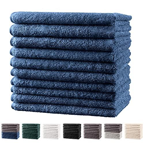 Twinzen - 10 x Petite Serviette Visage 30x30 cm, Bleu foncé - Serviette Essuie Main, Eponge Visage, Lot Serviette de Toilette, Serviette Mains Salle de Bain, Debarbouillette Bebe