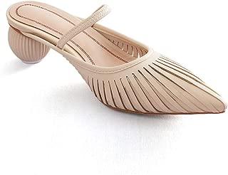 BOKPLD Leather Mule Sculptural Low Heel Sandals for Women 2019