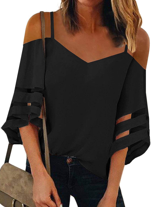 Blibea Womens Sexy V Neck Bell Sleeve T-Shirts Spaghetti Strap Cold Shoulder Tops Mesh Chiffon Blouse