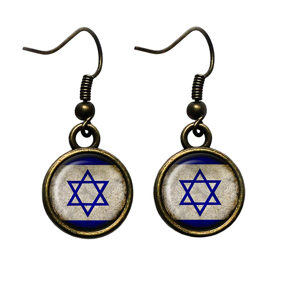 Louisville-Jefferson County Mall High quality new Israel Israeli Flag Bronze Antique Earrings