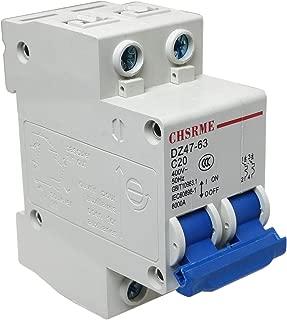 E-outstanding 2 Pole Mini Circuit Breaker 20A 230/400V Low-Voltage Overload Proetction Switch Din Rail Mount DZ47-63