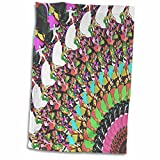 3dRose' Abstract Putter-Sports Image Features Colorful Frisbee Disc Golf Puttter Towel, White, 15 x 22-Inch