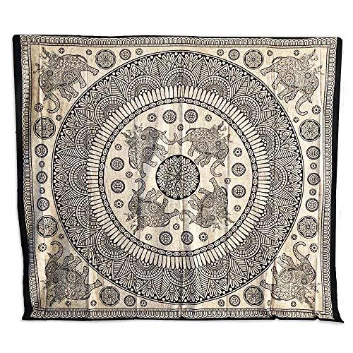 Copritutto Grande Elefanti Indiano Sabbiato 100% Cotone Telo Mare Copri Divano Arazzo Decorativo 210x240 cm