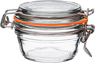 Le Parfait Super Terrine - 80ml French Glass Canning Jar w/Straight Body, Airtight Rubber Seal & Glass Lid, 3oz (Pack of 6) Galvanized Wire