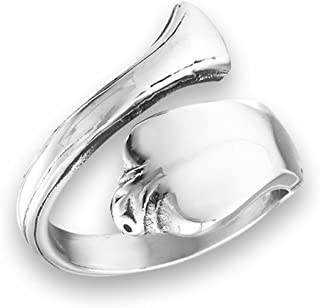 Vintage Victorian Style Spoon Open Thumb Ring Stainless Steel Band Sizes 7-10