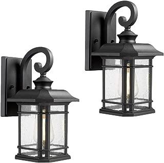 Emliviar Outdoor Wall Lanterns 2 Pack, 1-Light Exterior Wall Mount Light, Black Finish with Clear Seedy Glass, 2084B-2 BK