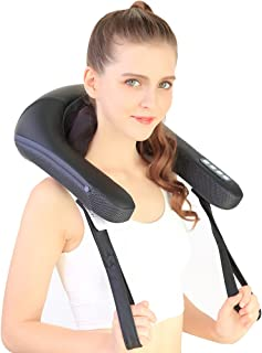 NURSAL Neck and Shoulder Massager with Heat and Adjustable Intensity & Speed, 3D Deep Shiatsu Kneading Massager for Blood Circulation, Muscle Pain Relief