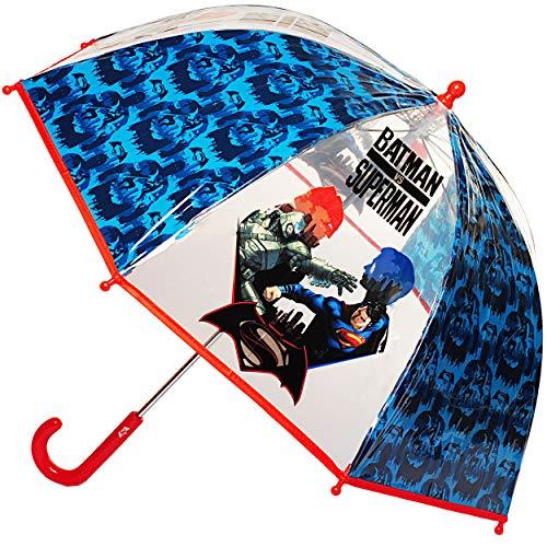 alles-meine.de GmbH Regenschirm - Superman & Batman - Kinderschirm - Ø 73 cm - groß / durchsichtig & durchscheinend - transparent - Glockenschirm - sturmfest sturmsicher windfest..