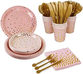 Rayking 192 Pieces Rose Gold Party Supplies Party Tableware Foil Paper Plates Napkins Cups Straws for Weddings, Anniversar...
