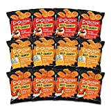 popchips, Potato Chips Ridges Variety Pack Gluten Free Single Serve 0.8 oz Bags Pack of 3 Flavors 4 Tangy BBQ 4 Cheddar Sour Cream 4 Buffalo, Ranch, 12 Count