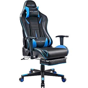 GTPLAYER Chaise Gaming de Bureau Fauteuil de Bureau Chaise Gamer Réglable en Hauteur Design Ergonomique avec Repose-Pieds et Fonction Bascule Bleu