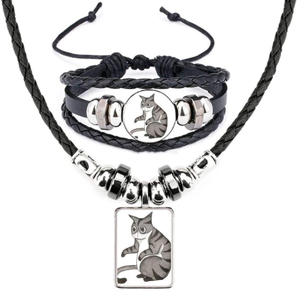 Miaoji Painting 5 popular Dragon-Li Watercolor Necklace Bracel Cat Latest item Leather