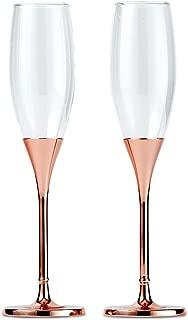 Wedding Star 6011 Toasting Flutes - Rose Gold Diamond Glitter