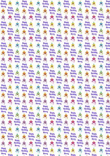 Familie Haai Gepersonaliseerde Geschenkverpakking Inpakpapier Jongens Meisjes 1 Meter Sheet RAINBOW CREATIES