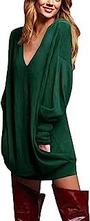 ZANZEA Mujer Camisetas Largos Tallas Grandes Cuello V Manga Larga Otoño Vestidos Sudadera Casual Top