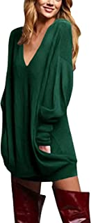 Women's V Neck Long Sleeve Loose Baggy Jumper Tunic Tops Mini Dress Pullover
