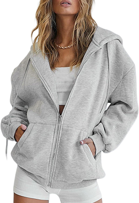 Fashion Y2K Women Zip Up Hoodie Sweatshirts Long Sleeve Hoodies Pullover Jacket Tops with Pocket