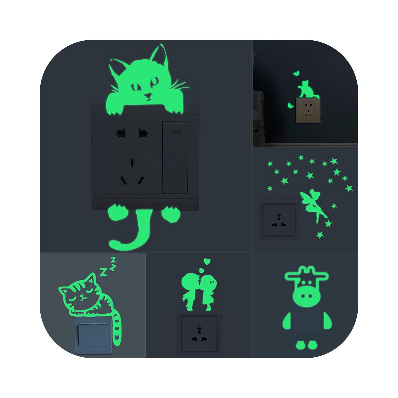 Luminous Cartoon Switch Sticker Glow in Dark Room Decor Cat Moon Star Wallpaper