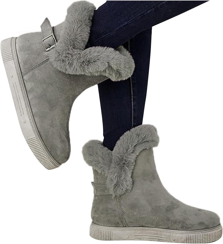 Warm Snow Boots, Women's Winter Ankle Bootie Anti-Slip Fur Lined