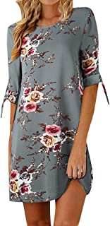 NOMUSING Womens Print Bowknot Sleeves Cocktail Mini Dress Summer Party Dress