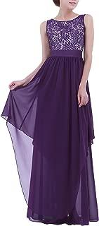 Women's Elegant Sleeveless V-Back Black Lace Bridesmaid Maxi Long Dress